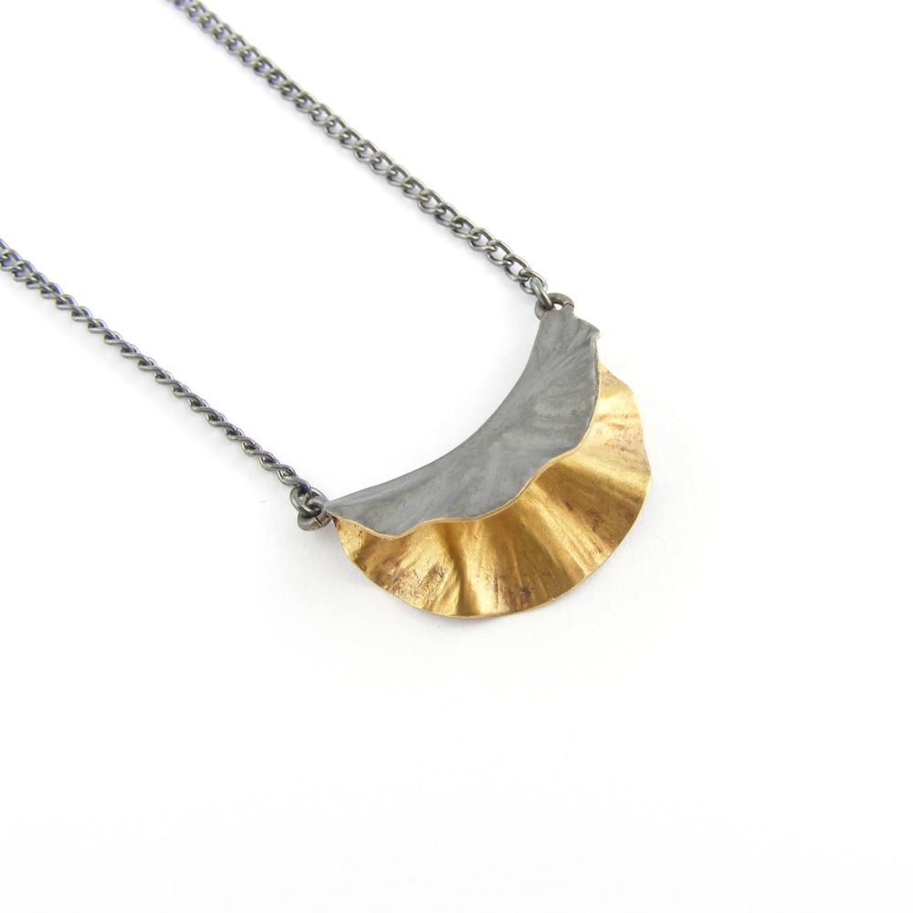 Oxidised Silver & 18ct Gold Plate Ostrea Pendant