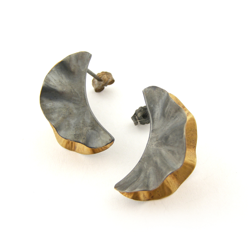 Oxidised Silver & 18ct Gold Plate Ostrea Studs