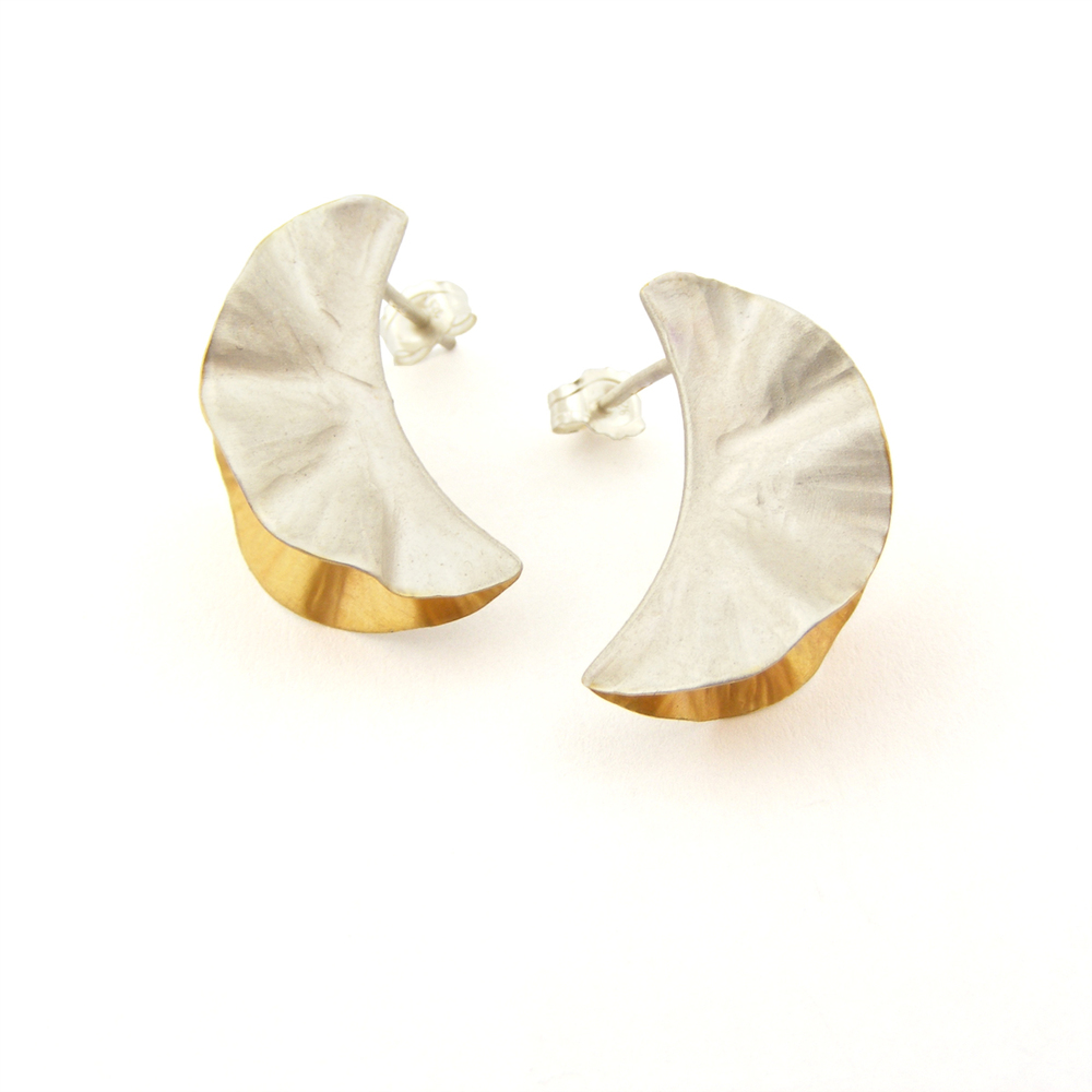Silver & 18ct Gold Plate Ostrea Studs