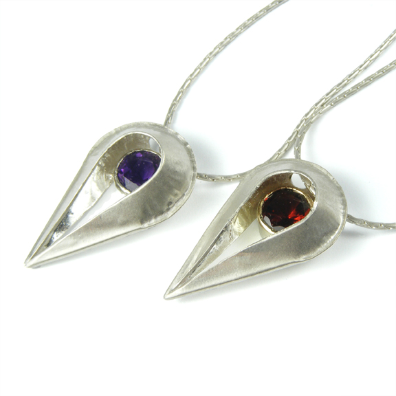 Teardrop Pendant - Amethyst & Garnet in 9ct Gold Setting