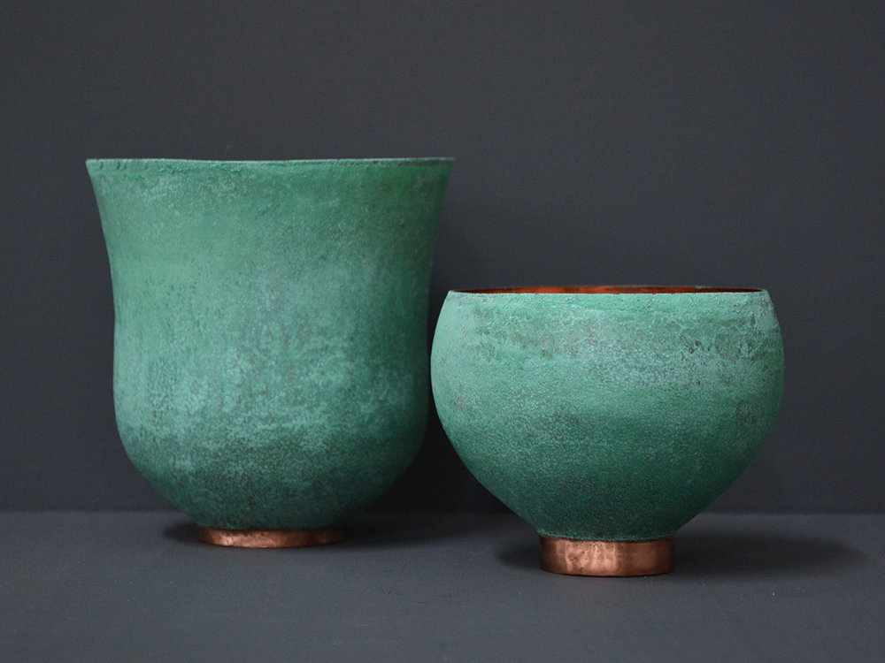 Teal Teabowls - Patinated Copper