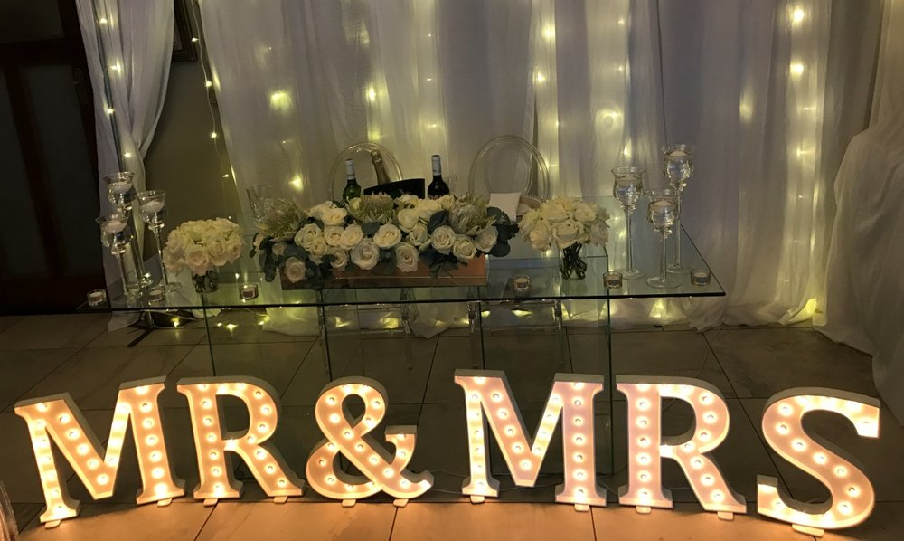 Marquee letters Mr & Mrs