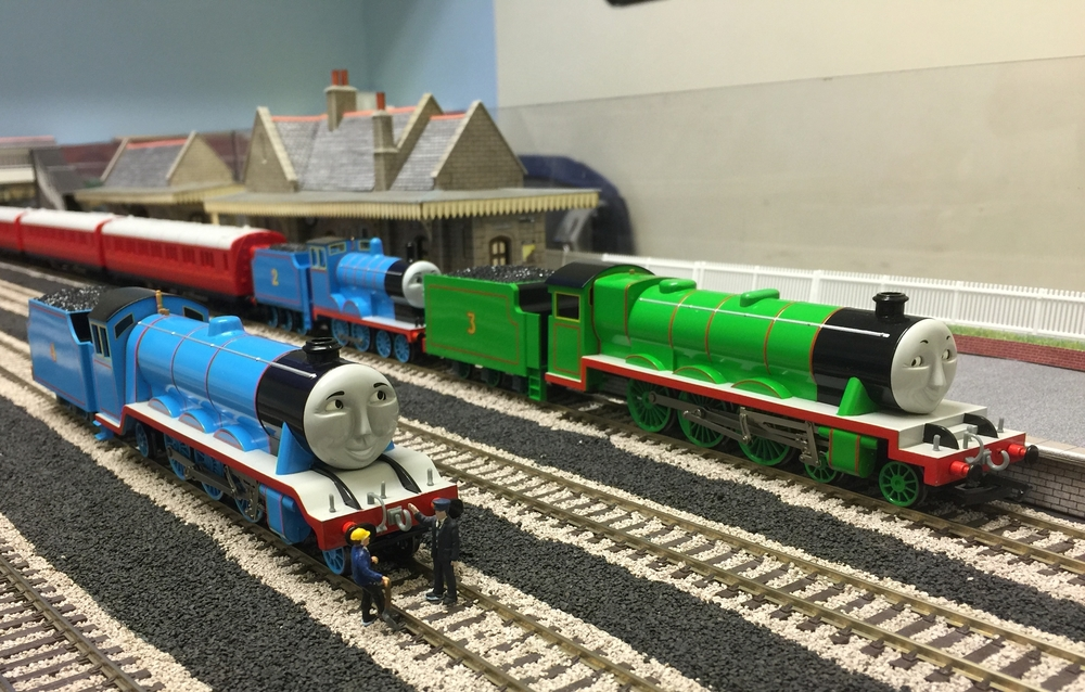 Our own recreation of the three railway engines in 00 scale