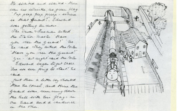 Awdry's original manuscript, with text and pictures, for what was to become The Three Railway Engines