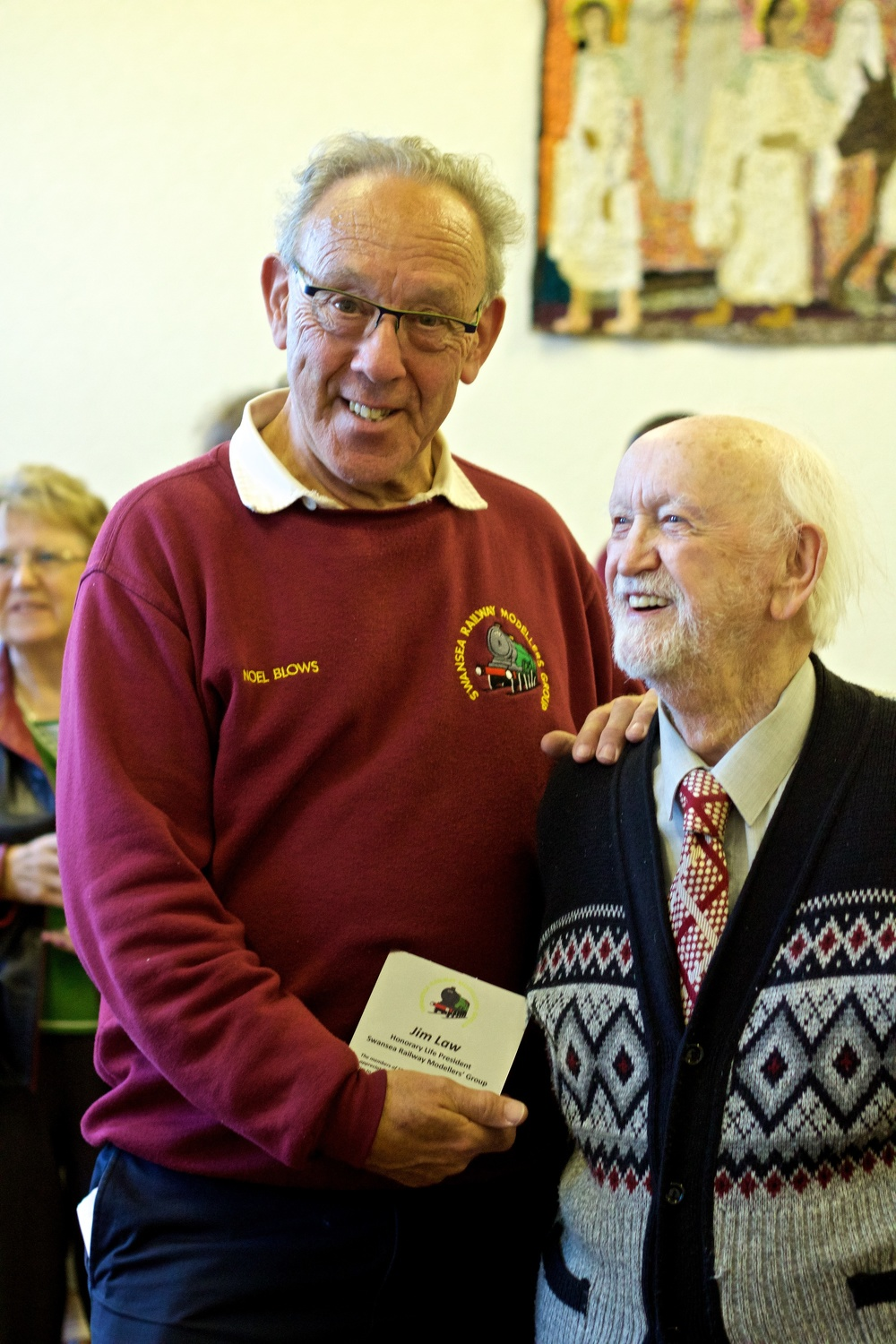 Noel Blows and Jim Law – plaque presentation - Photo Gwion Rhys Davies