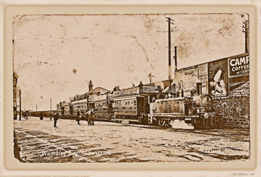 THE MUMBLES RAILWAY IN THE SLIP BRIDGE AREA - Taken from a November 1917 postcard