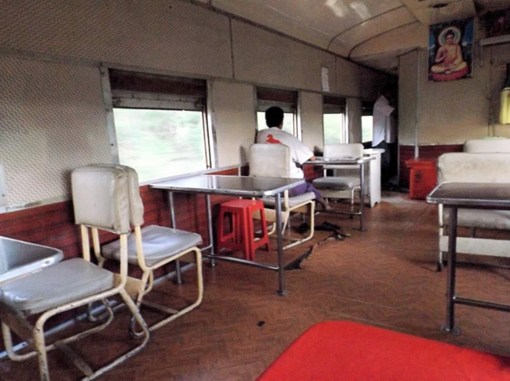Interior of First Class Dining Car: Bagan-Yangon Express - Myanmar Notice that absolutely no expense has been spared to ensure your relaxation and comfort.
