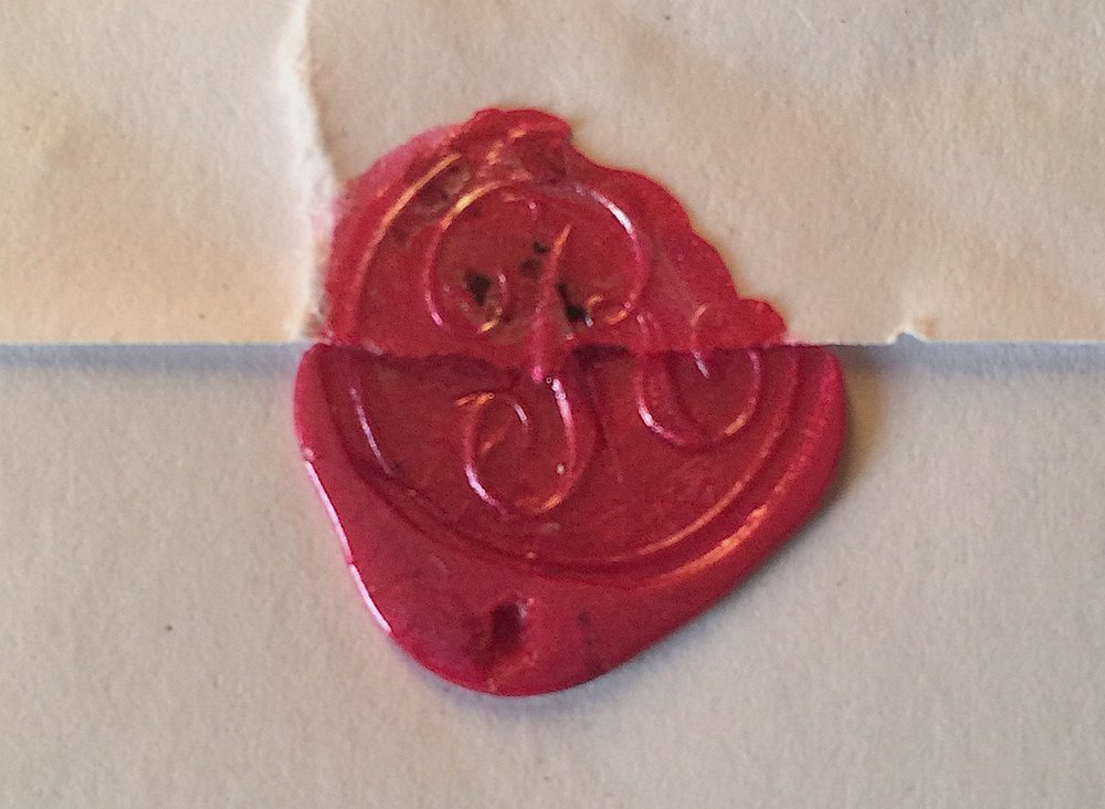 John Rodgers' family monogram forms a waxed seal on one of his letters to a fellow member.