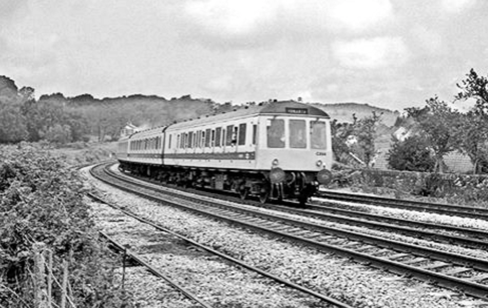 A not much photographed era when the Valleys DMUs wore a not-unattractive white livery with a blue stripe. Class 116 W51139 departing Ystrad Mynach with a Rhymney to Penarth service on Friday the 15th of August 1980. With thanks to Robert Masterman.