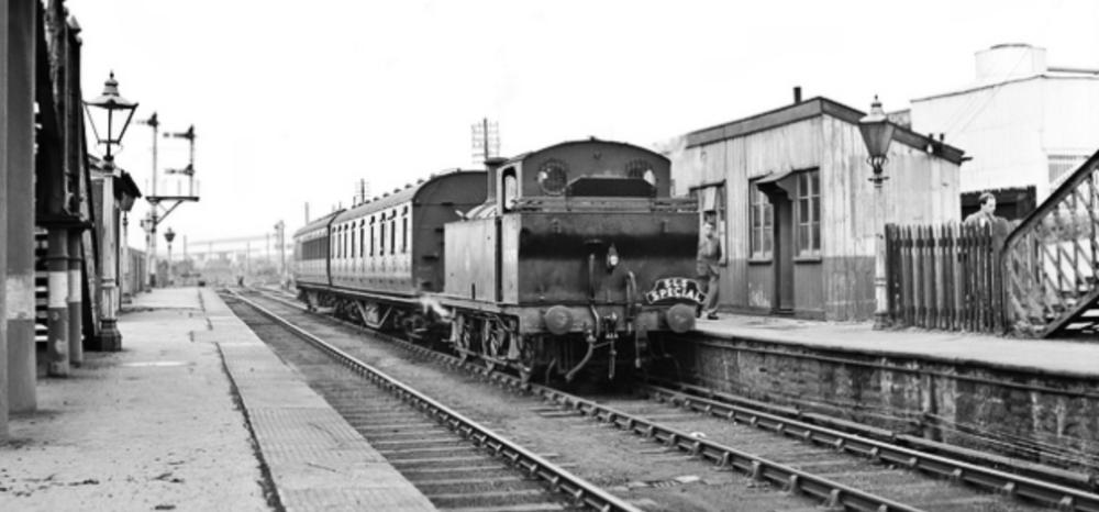 Some long-disappeared Swansea history: the 14th. July 1956 sees this Swansea District SLS Railtour hauled by ex-LMS Jinty 47479 stopping at Upper Bank Station (the first stop north from Swansea St.Thomas).   Absolutely no trace of this station remains and the site is now – inevitably – buried under a housing estate. Prior to the housing development, the area near the site was home to the Swansea Vale Railway Society.  Courtesy of the D Chandler collection, with many thanks.