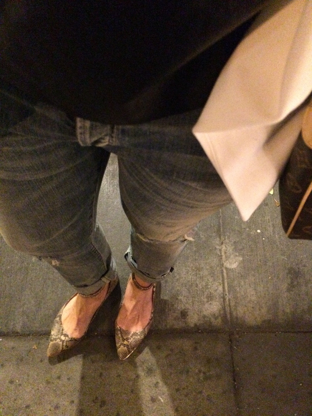 Pointed toe flats the perfect shoes to dress up distressed jeans when heels aren't happening.