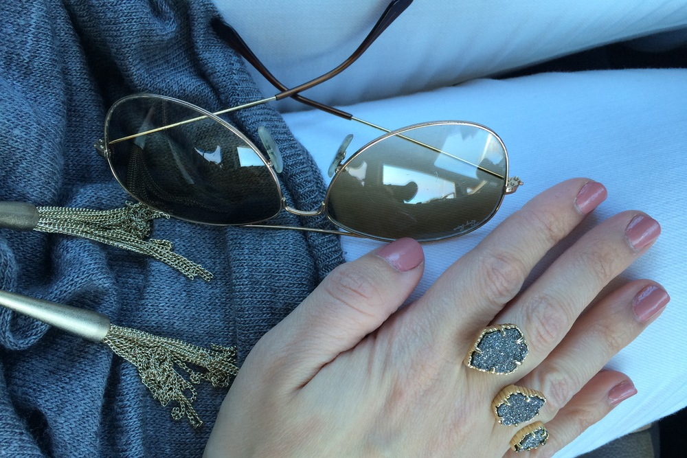 Ring  and  necklace  both Kendra Scott. Sunglasses Ray-Ban.