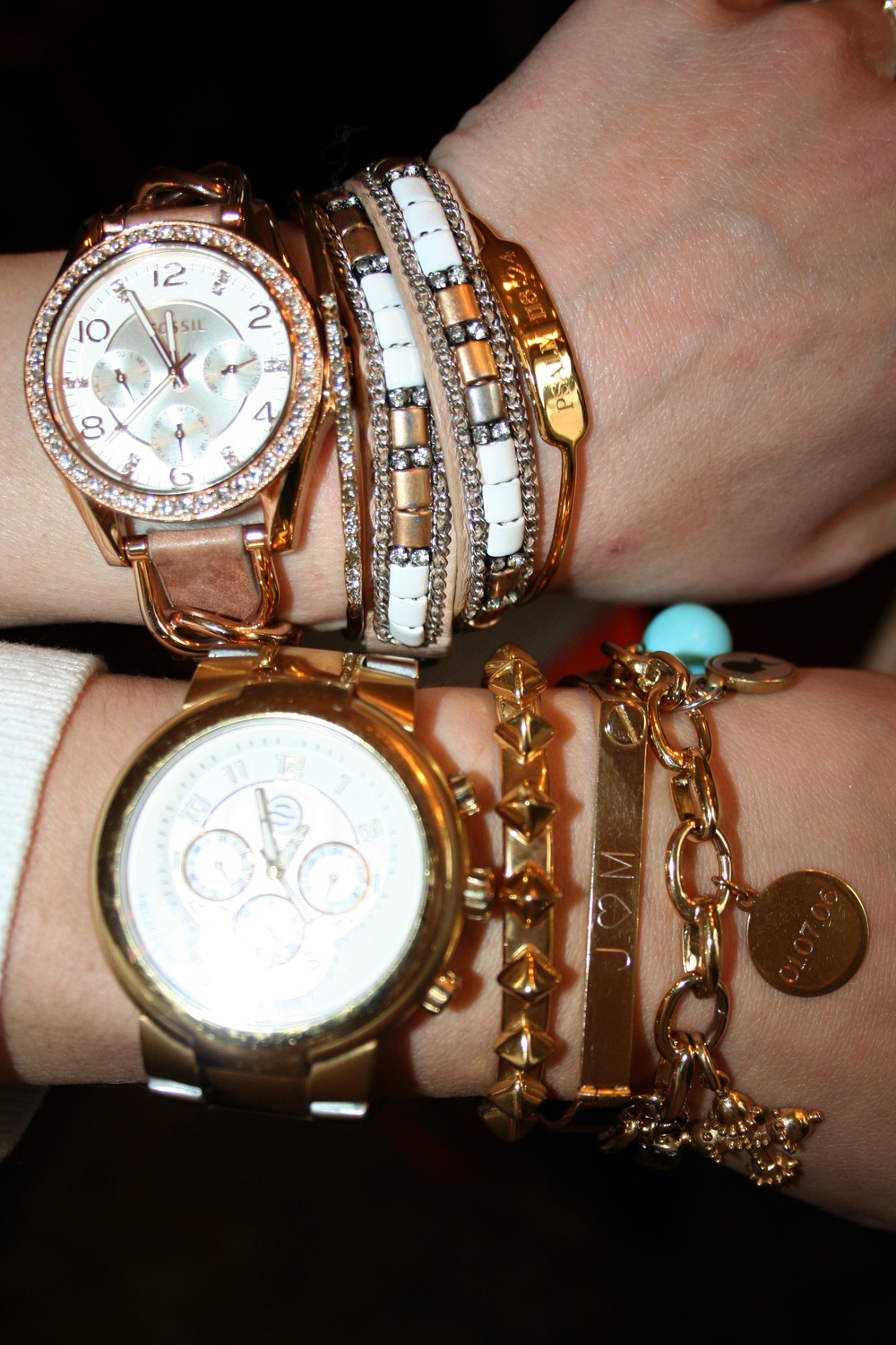 Love the personalized  cuffs  and  charms  from Stella & Dot. They personalize your stack...and, in my case, serve as a daily anniversary date reminder! The other gorgeous pieces in these stacks can be found  here ,  here , and  here . The build your own charm bracelet can be found  here .