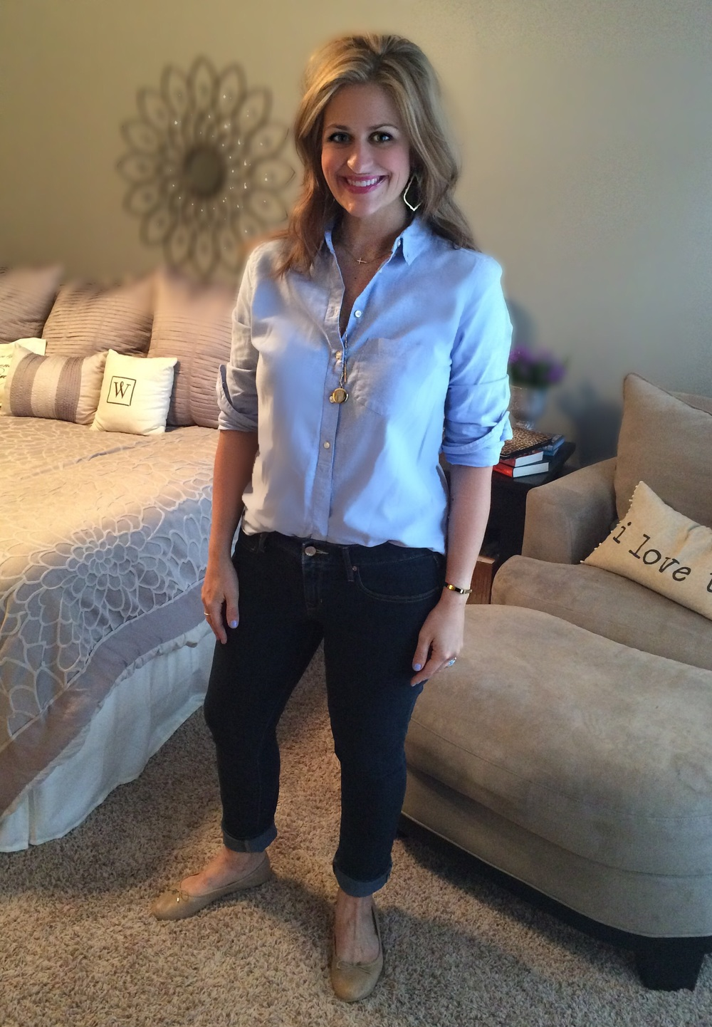 Jeans:  Gap Always Skinny  Shirt:  Gap Oxford  Necklaces: Both Stella & Dot ( sideways cross  &  engravable locket )  Earrings:  Kendra Scott  Shoes:  Sam Edelman