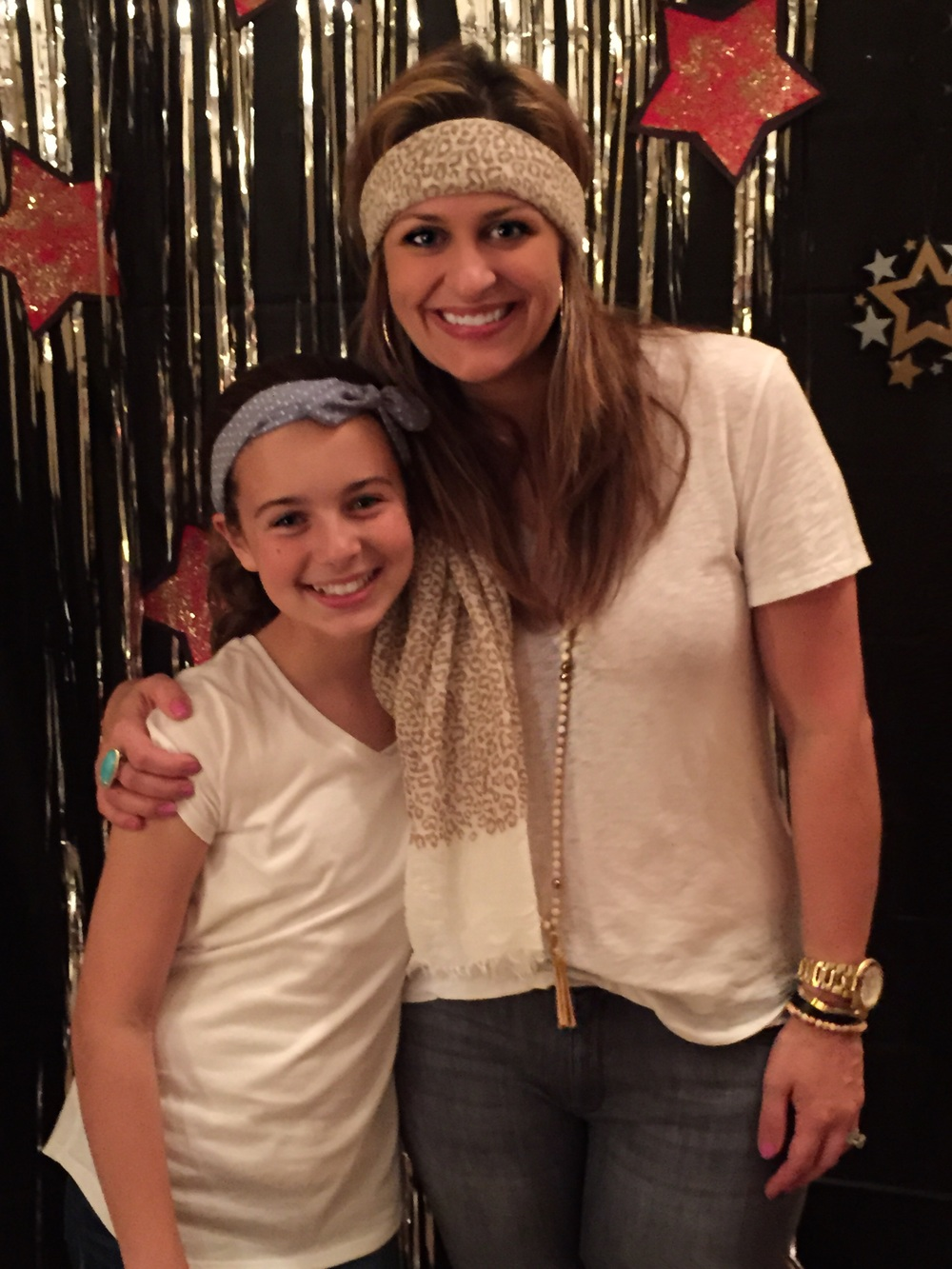 The birthday girl! Her headband:  Forever 21  Tee:  Rag&Bone  Jeans:  DL1961  Necklace:  Frasier Sterling