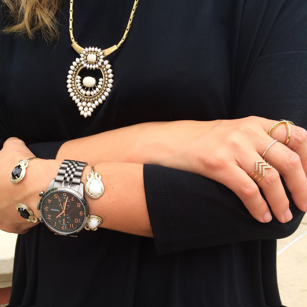"Necklace:  Stella & Dot  Watch: Fossil (similar  here ) Bracelets:  Kendra Scott  Chevron ring:  Stella & Dot  ""X"" ring:  Baublebar"