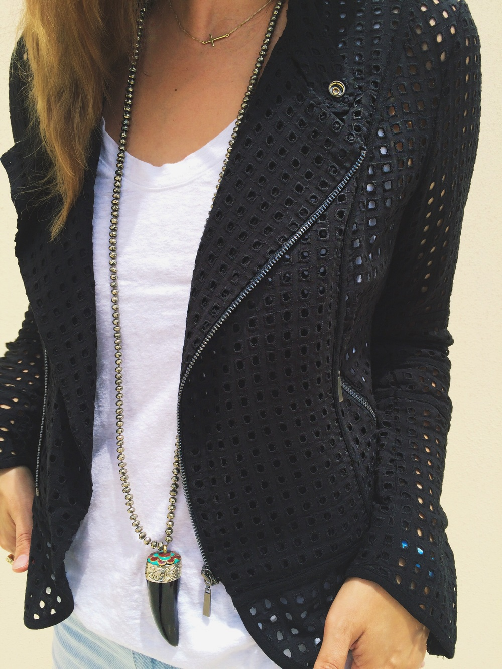 Love this jacket for Summer layering! Jacket:  Nordstrom  Necklace: Frasier Sterling (her designs  here  and similar  here )