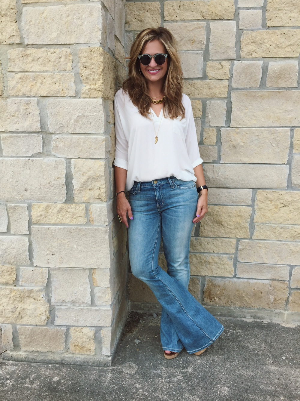 Jeans:  Current Elliot  Top:  Lush  (part of the Nordstrom anniversary sale) Wedges:  Sole Society  Sunnies:  Nordstrom  Necklaces:  John Wind  and  Stella & Dot