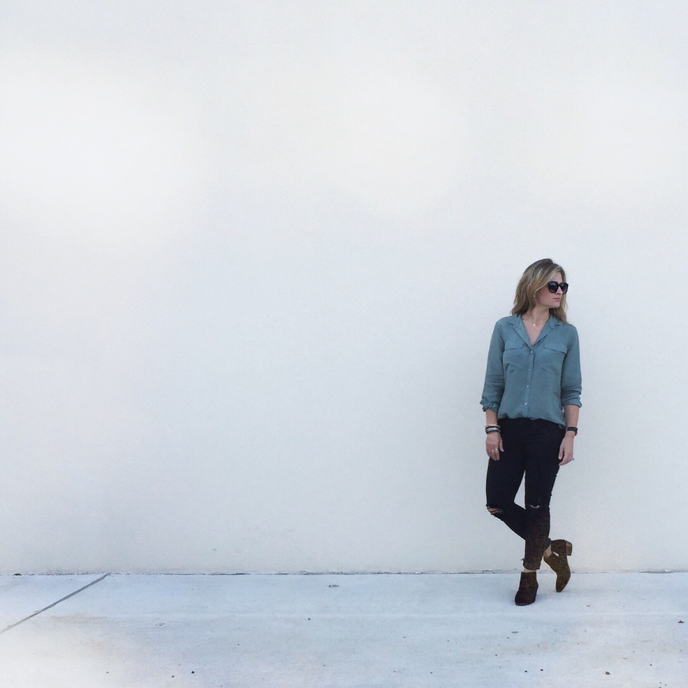 Silk button-up:  Everlane  Jeans:  Mother  Boots:  Sam Edelman