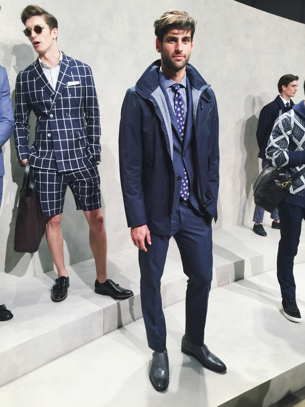 Blue, blue, more blue and grey for the men this Spring. And...a shorts suit...
