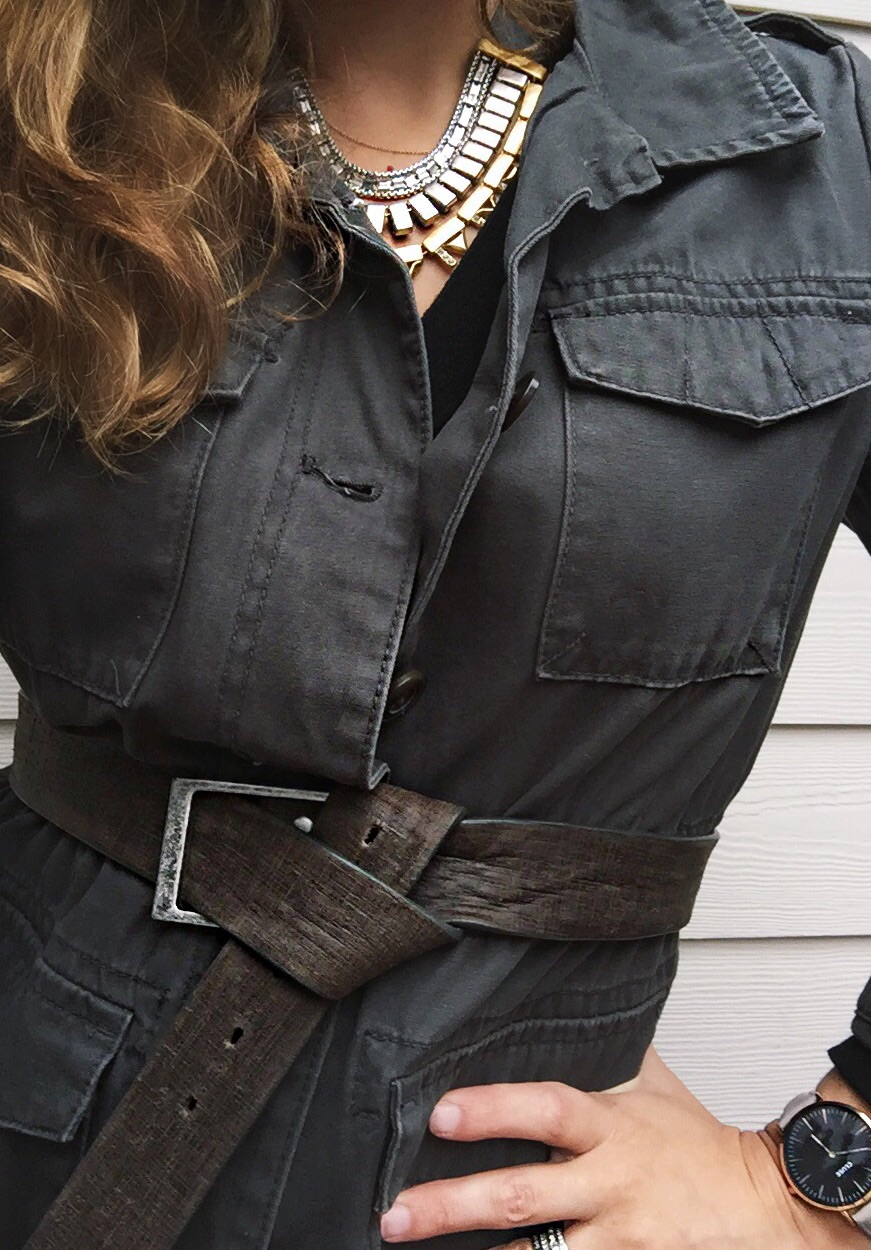 Belt:  Badichi  other options  here  and  here  Necklace:  Stella&Dot  Jacket: Old Navy old similar  here  Sweater:  Everlane  Watch:  Cluse