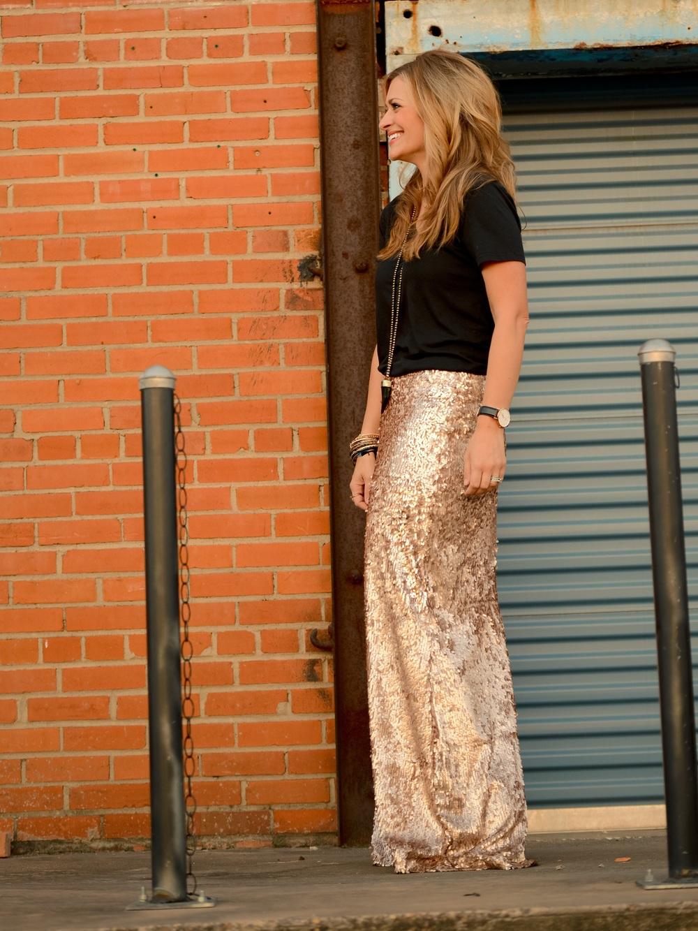Tee:  Everlane  Bangles: Kendra Scott  here Necklace: Sterling Frasier  here Skirt: Love Alana Designs  here