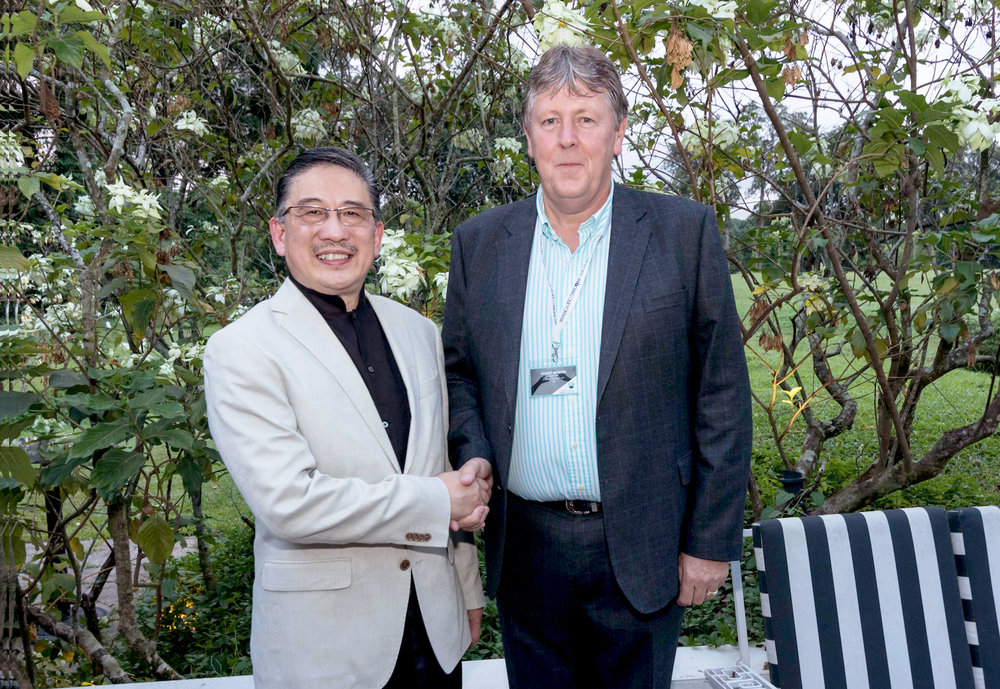 StayWell Group CEO Simon Wan with Fiveways Hospitality Managing Director Stuart Broster