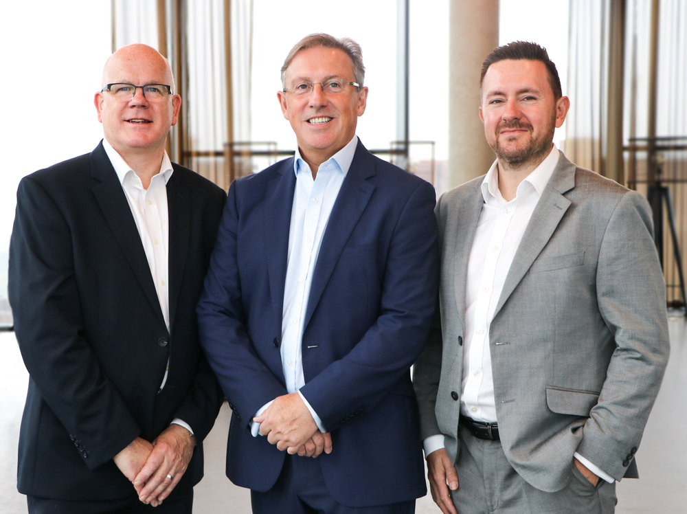 (L-R): Andy Robinson (Group CEO), Neil Walters (Managing Director, Colmore Tang Construction), and Neil Martin (Group CFO)