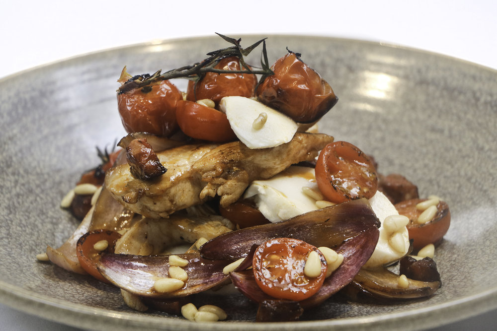 Chicken and chorizo with mozzarella, roasted cherry tomatoes on the vine and roasted pine nuts.jpg