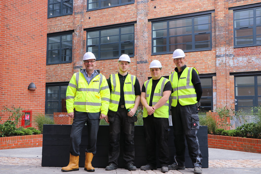 Steve Underwood (COO of CTC) with Jericho apprentices Callum and William, & Fraser Lewis ( Production Supervisor at the Jericho Foundation's Wood Shack).jpg