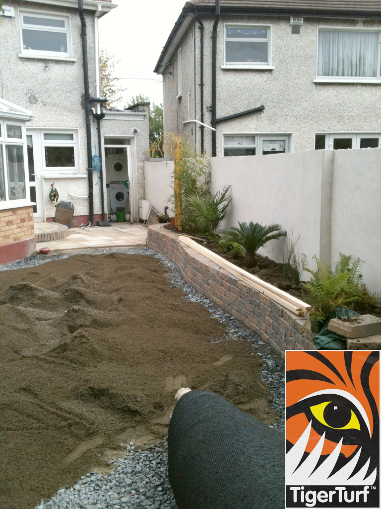 garden being dug and stoned for new turf