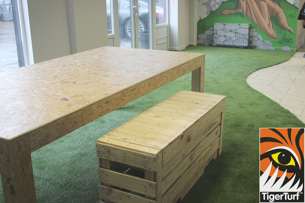 grass installation on office floor
