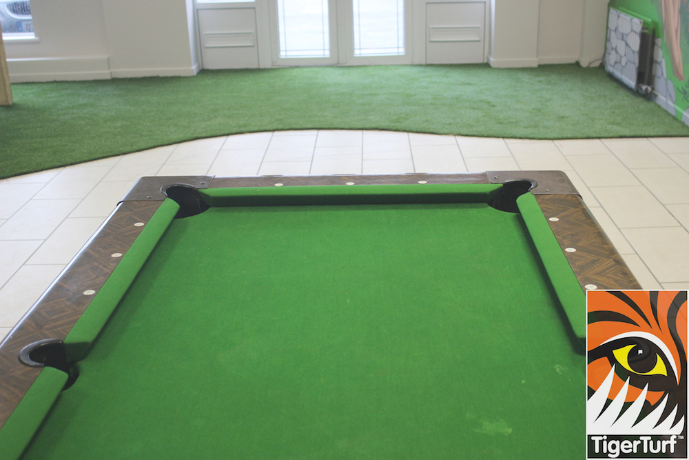 snooker table and TigerTurf vision plus