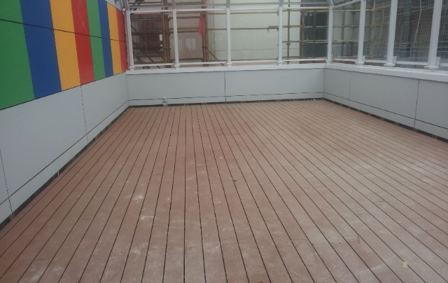 decking before installation of TigerPlay grass