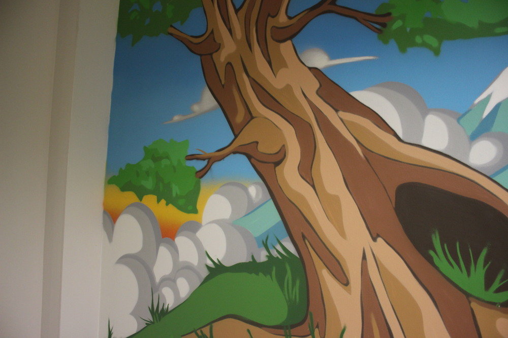 tree mural on wall