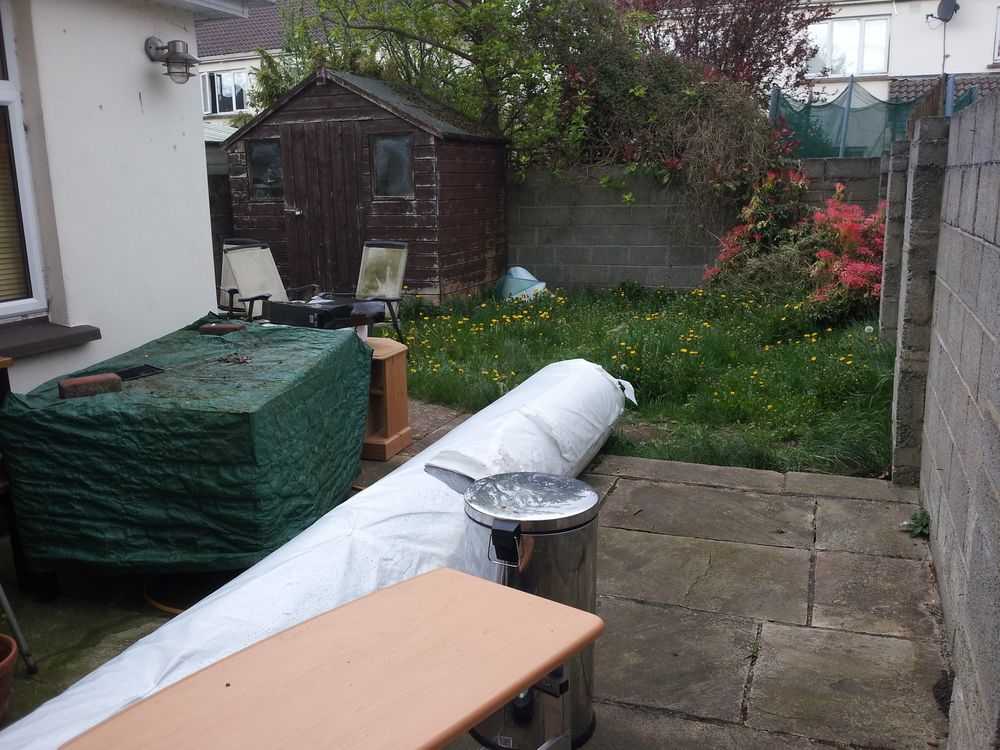 Garden before artificial grass installation