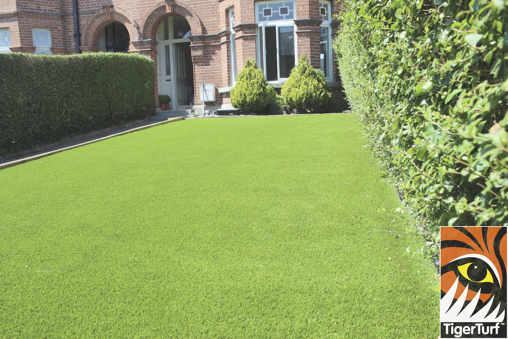 synthetic turf in front garden of house