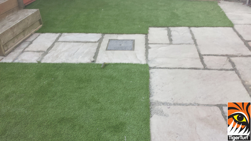 sandstone patio and lawn