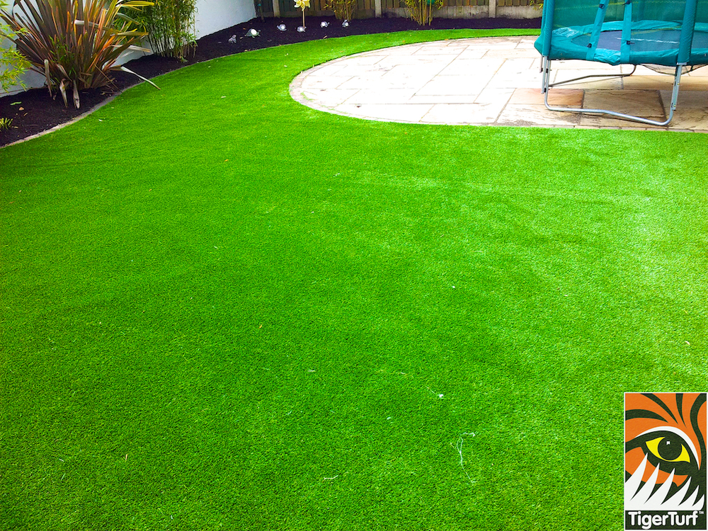 installed synthetic garden grass lawn