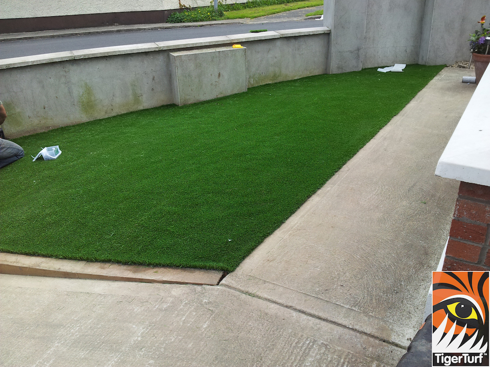synthetic grass in front Garden