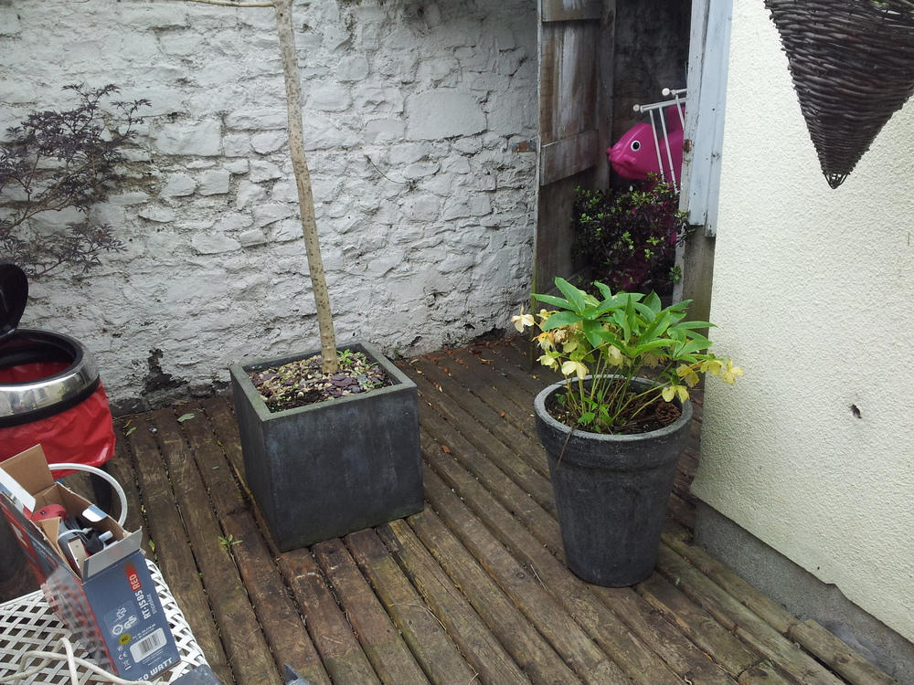pots on decking