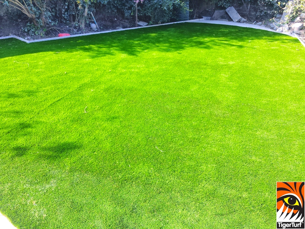 TigerTurf synthetic grass installed in back Garden