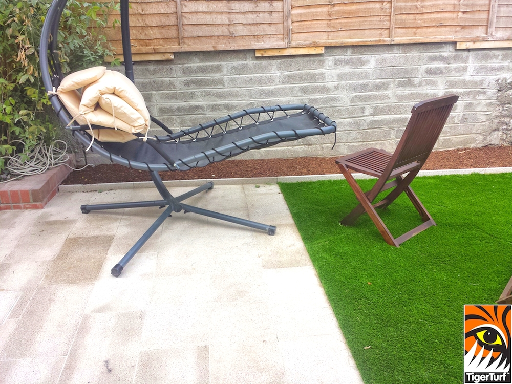 Garden furniture on synthetic grass