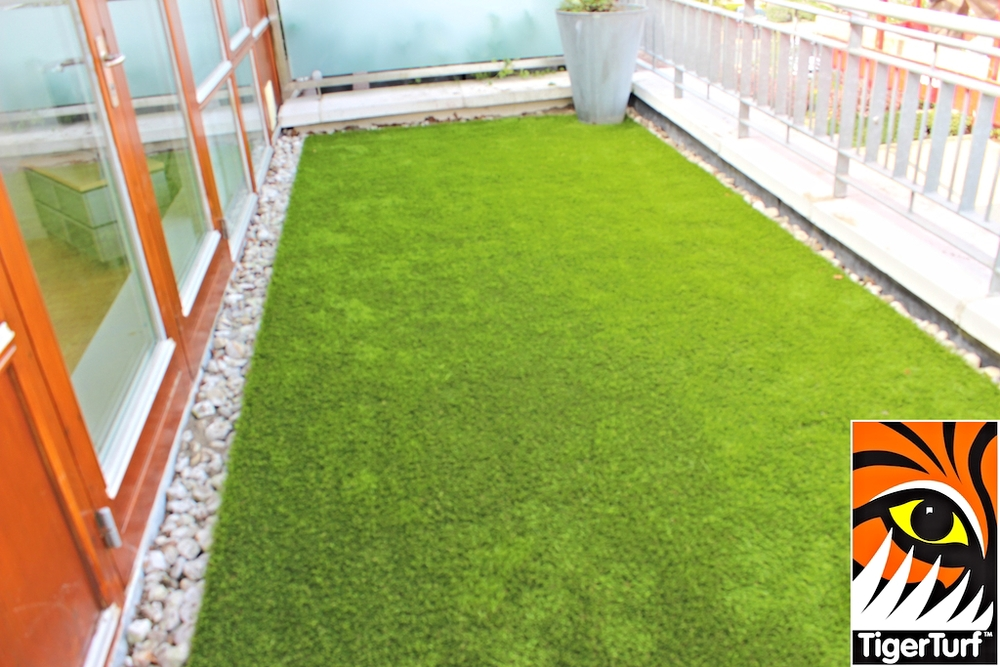 Synthetic turf on veranda