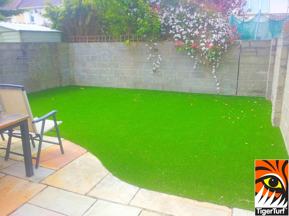 synthetic lawn turf in garden