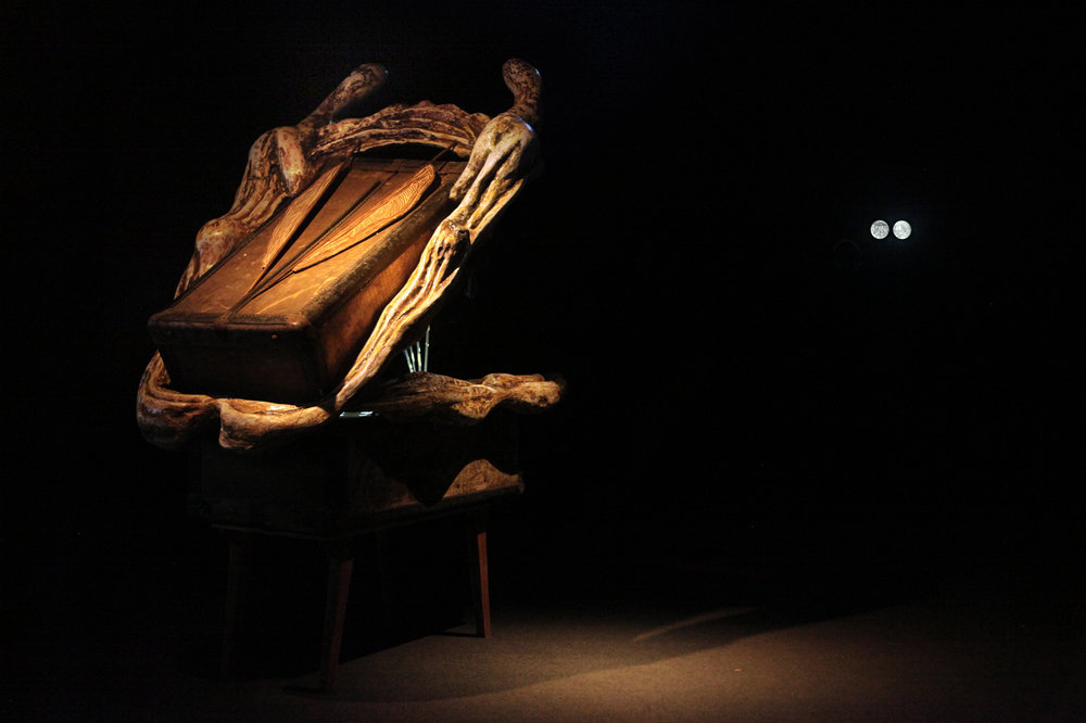Vocal Folds, back view, A mixed media sculpture with a video projection  photo: Mia Gurevich