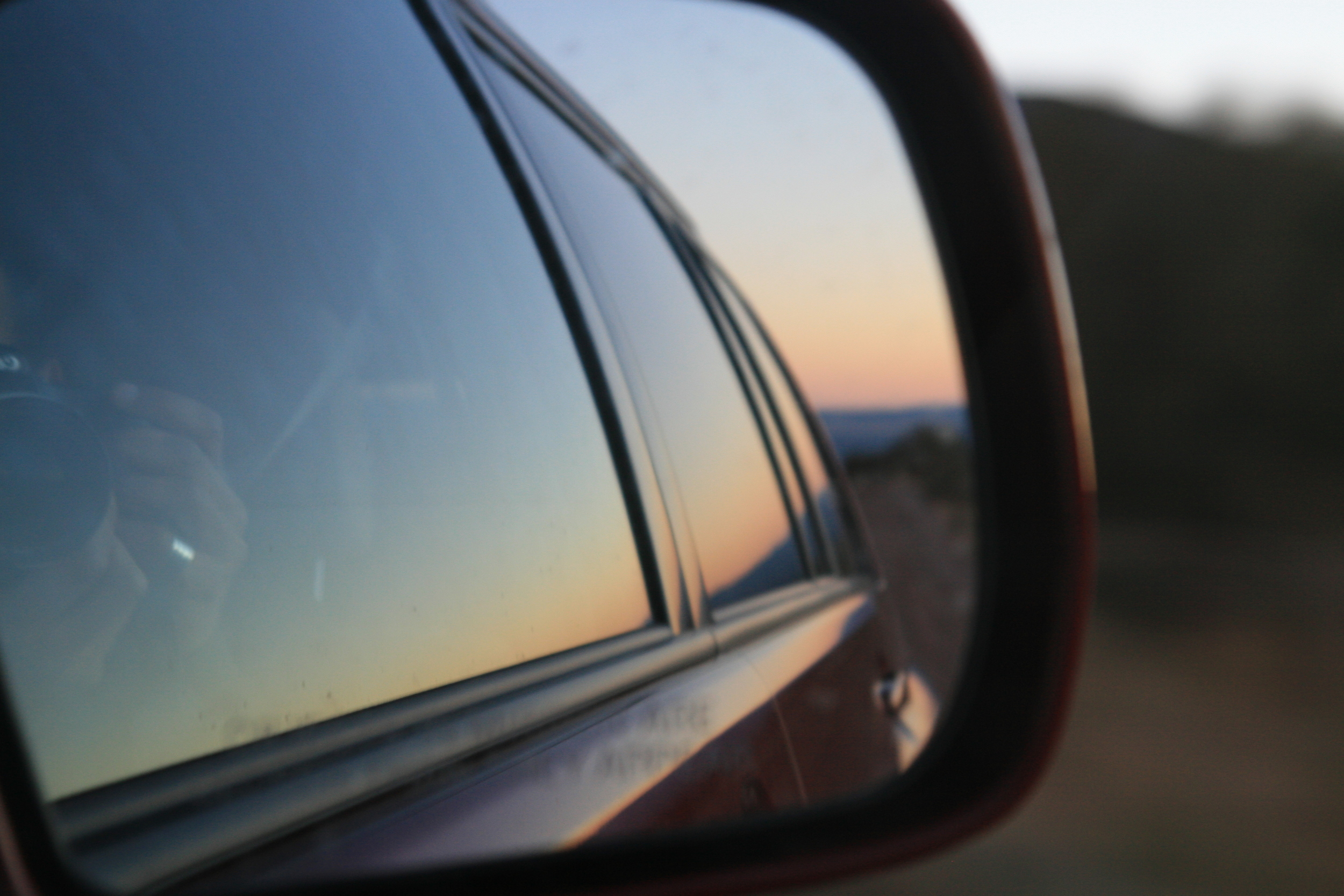 Sunsets in the rear view mirror may not look as spectacular as they really are.