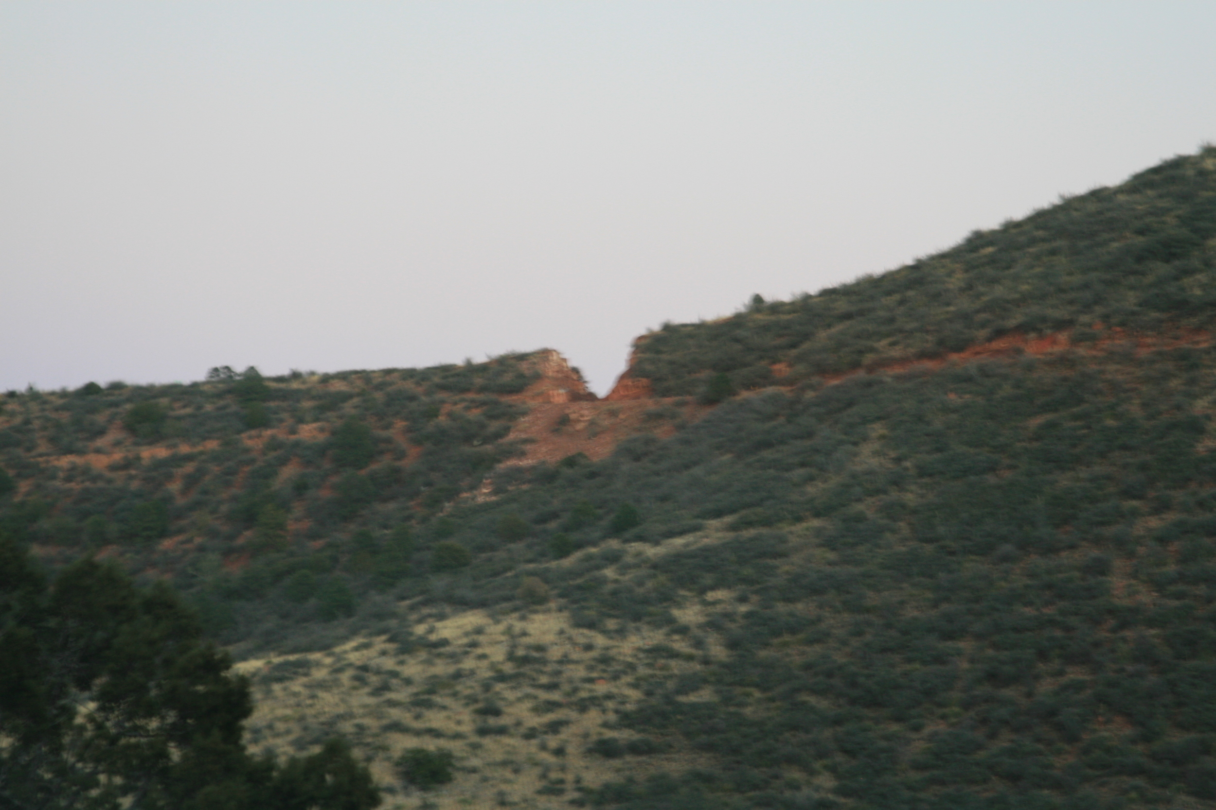 It was starting to get dark, and we spotted this notch a couple miles away.