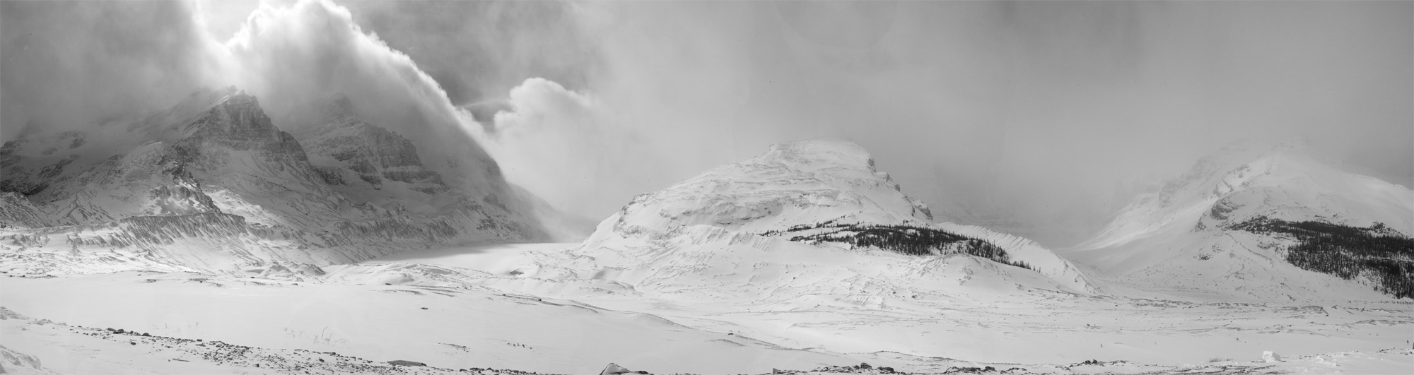 columbia_icefield_tongue_pano_crop_bw