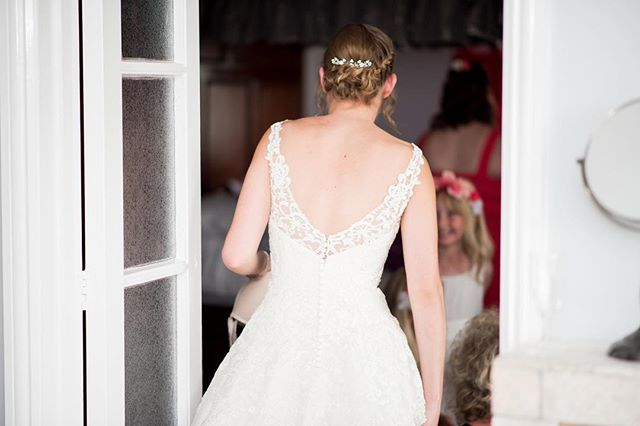 Louise's updo showed off the back of her dress perfectly!